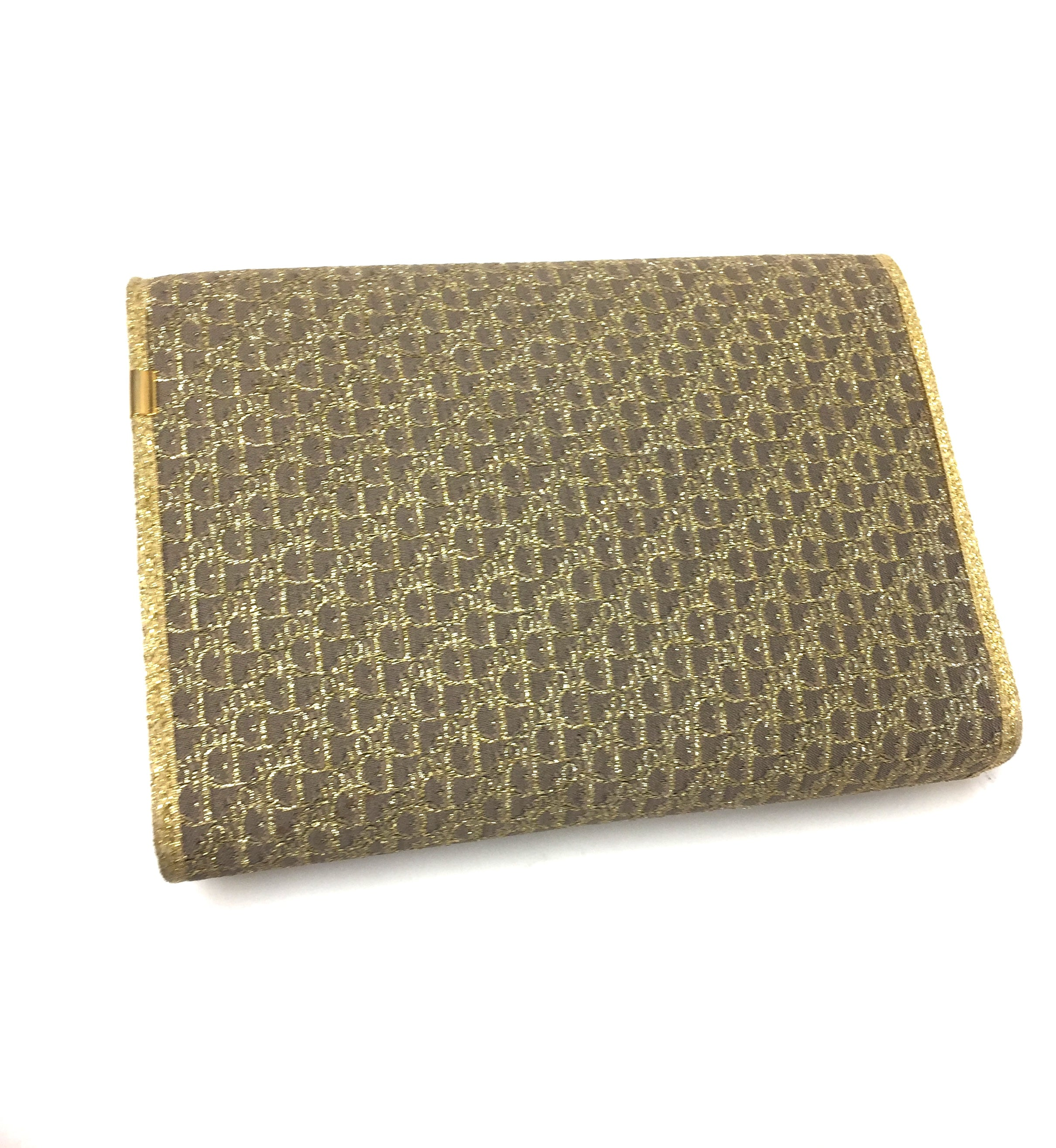 340e6fb2a2 ... bisbiz.com CHRISTIAN DIOR Vintage Taupe/Metallic Gold Logo-Patterned  Fabric Evening Clutch ...