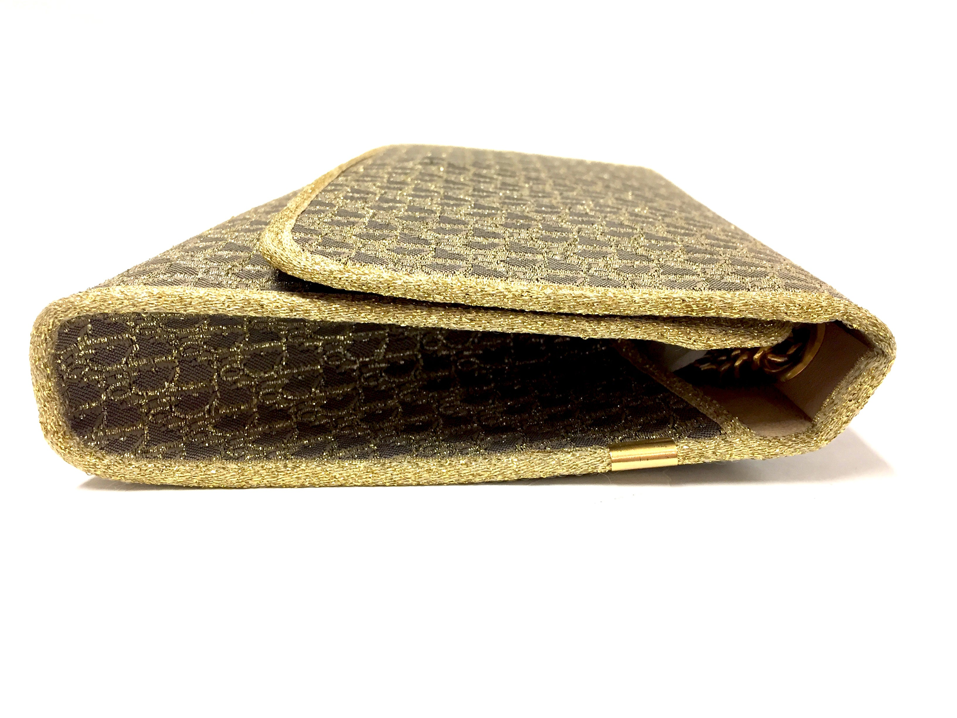 f075b34f3d ... bisbiz.com CHRISTIAN DIOR Vintage Taupe/Metallic Gold Logo-Patterned  Fabric Evening Clutch