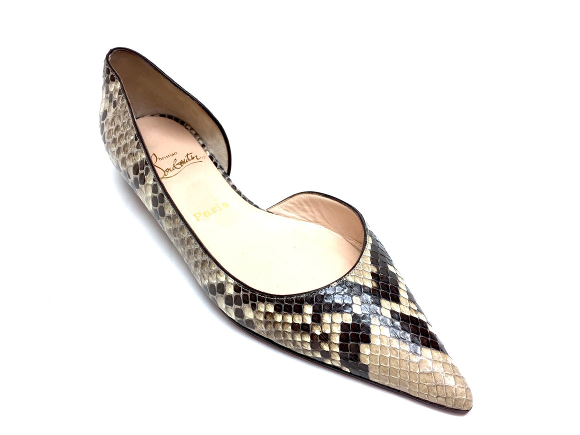 bisbiz.com CHRISTIAN LOUBOUTIN  Brown/Beige Python Skin Flats Shoes  Size: 40 /10 - Bis Luxury Resale