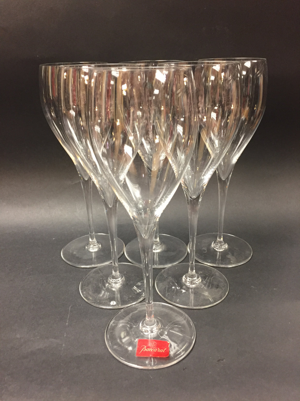 bisbiz.com BACCARAT Vintage  Set of Six Tulip-Shaped Clear Crystal ST. REMY Wine Glasses - Bis Luxury Resale