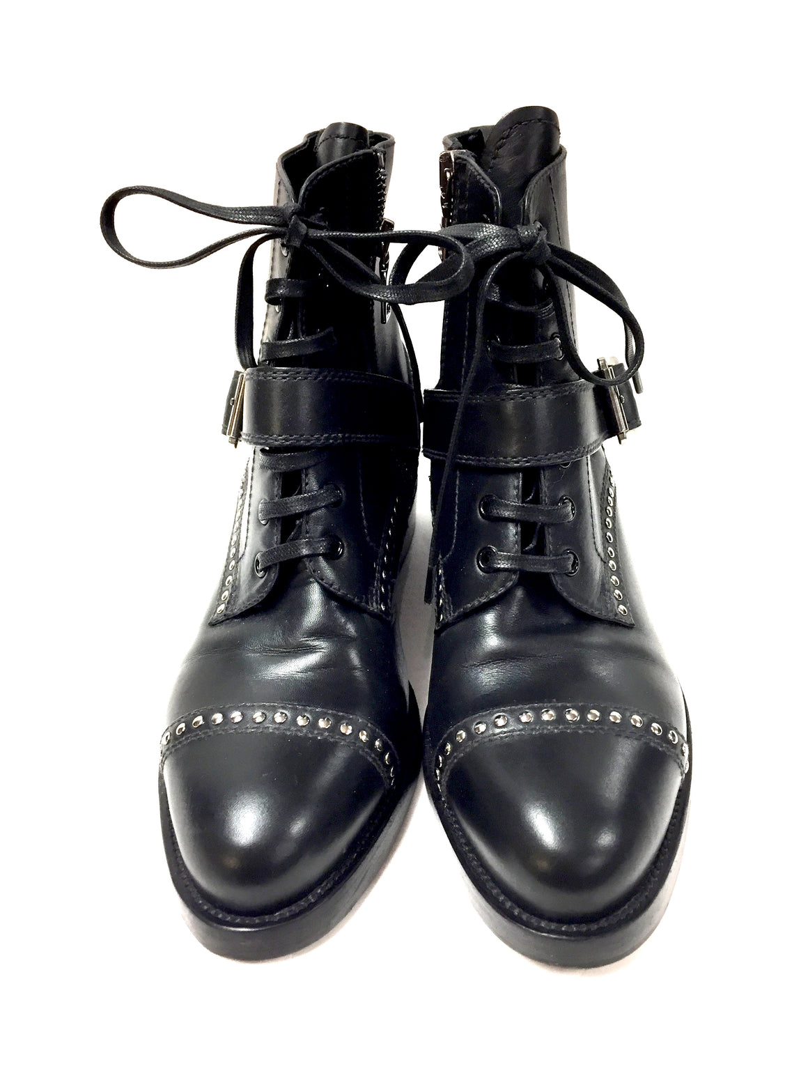 PRADA Black Leather Silver-Studded Lace-Up Flat Ankle-Boots Booties Shoes Size: IT 37.5 / US 7.5