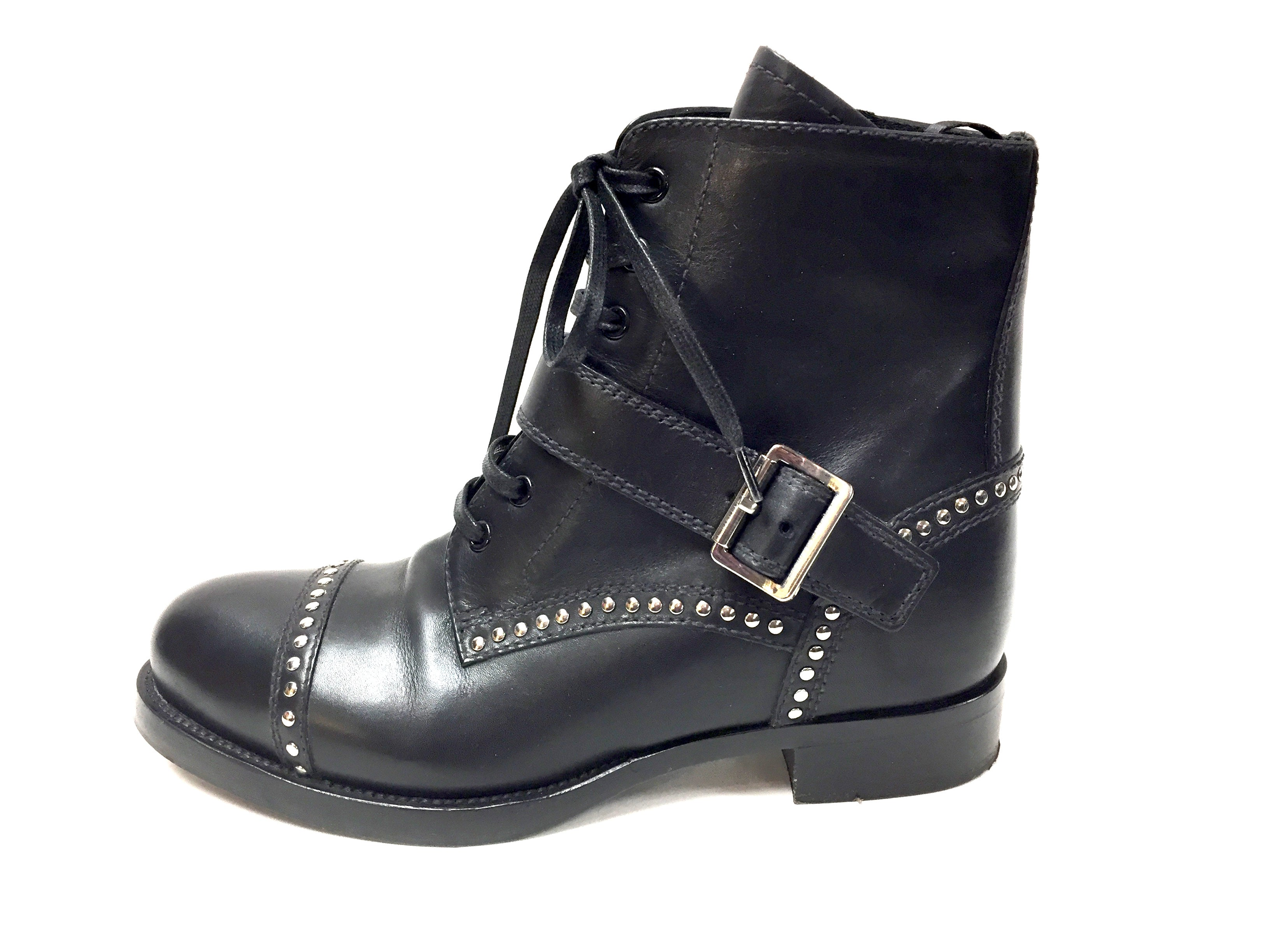 06587ce0 PRADA Black Leather Silver-Studded Lace-Up Flat Ankle-Boots Booties Shoes  Size: IT 37.5 / US 7.5