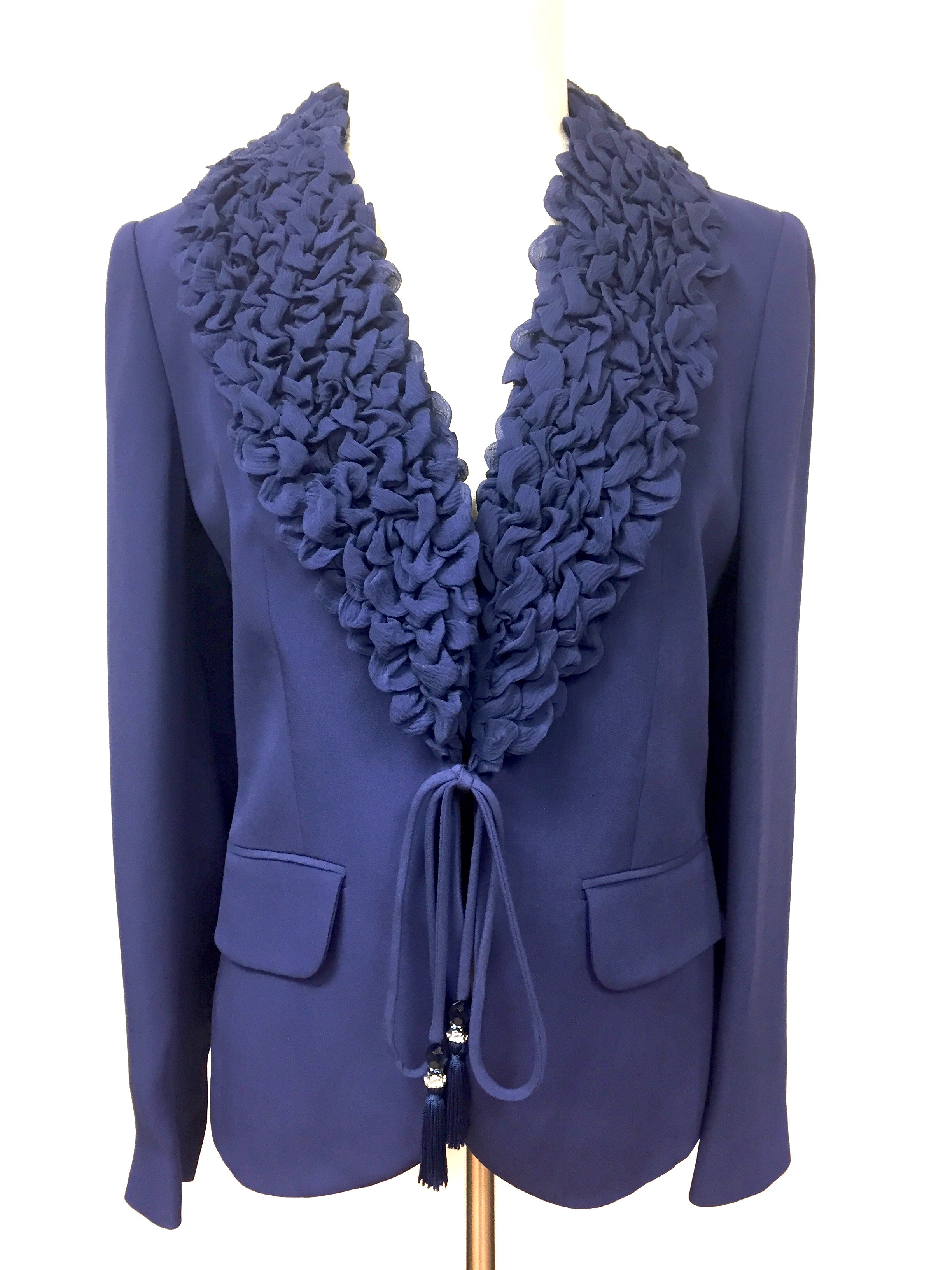 6ea83a063a LUISA SPAGNOLI New with Tags Lavender-Blue Silk Bubbled Shawl Collar  Jeweled Buttons Dress Jacket Size: IT 44 / US 10