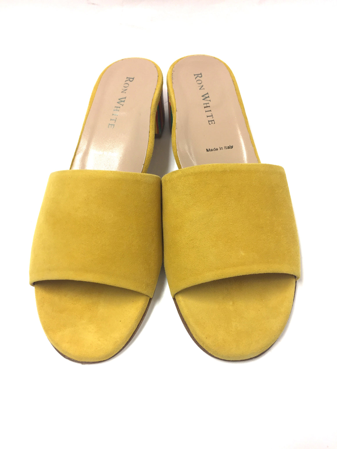 RON WHITE    Lemon-Yellow Cashmere Suede Rainbow Heels  ESMARIE Mules Sandals Shoes  Size: EU 38 / US 37.5