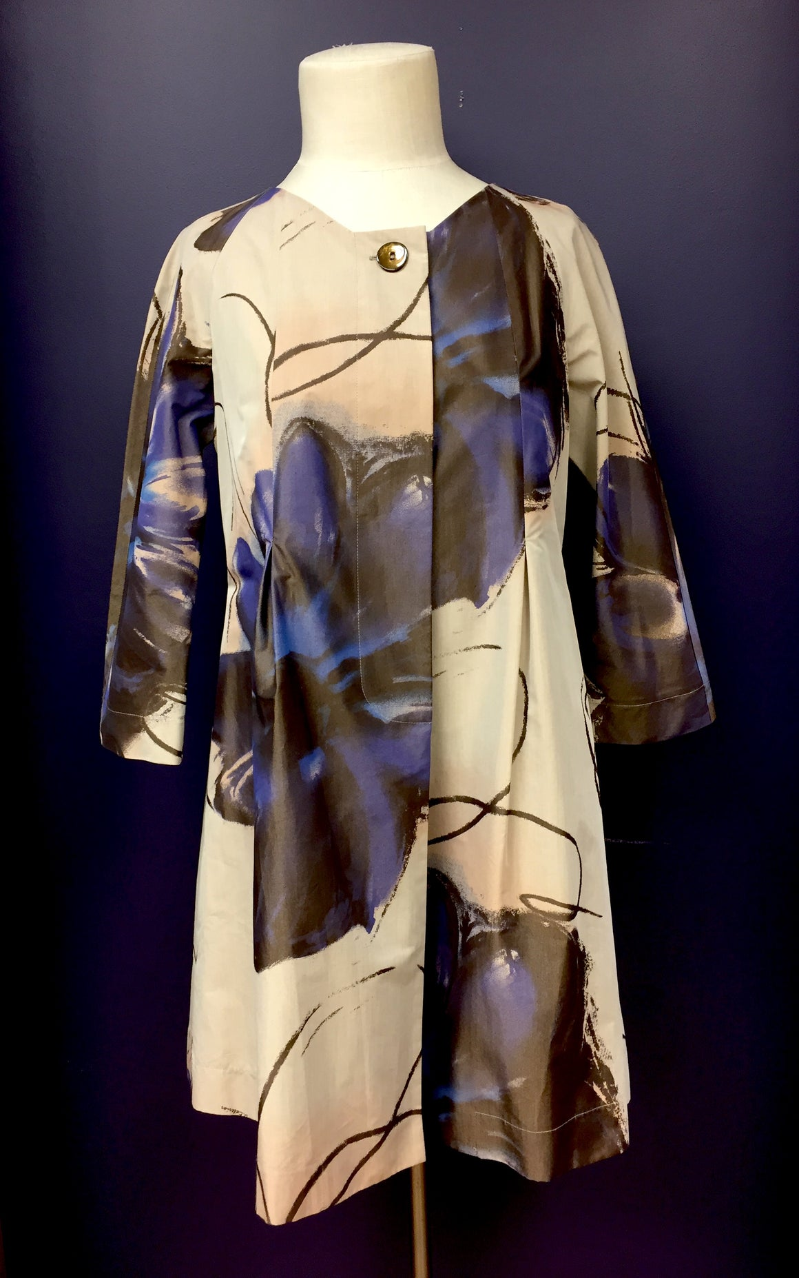 D. EXTERIOR Beige Brown Purple Stylized Floral-Print  Cotton-Blend Dress Coat  Size: IT44 / US8