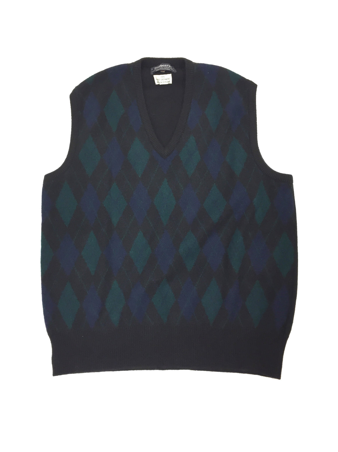 BURBERRY Vintage Black Cashmere Classic V-Neck Vest with Green & Blue Argyle Front Size: EU 44 / M