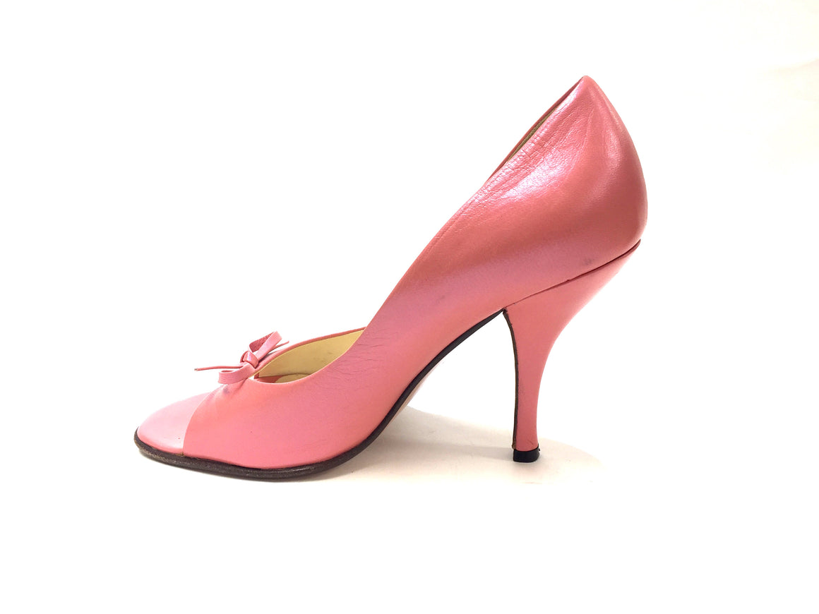 PRADA                        Bubblegum Pink Leather Open-Toe Heel Pumps w/Bow                                Size: 35 / 5