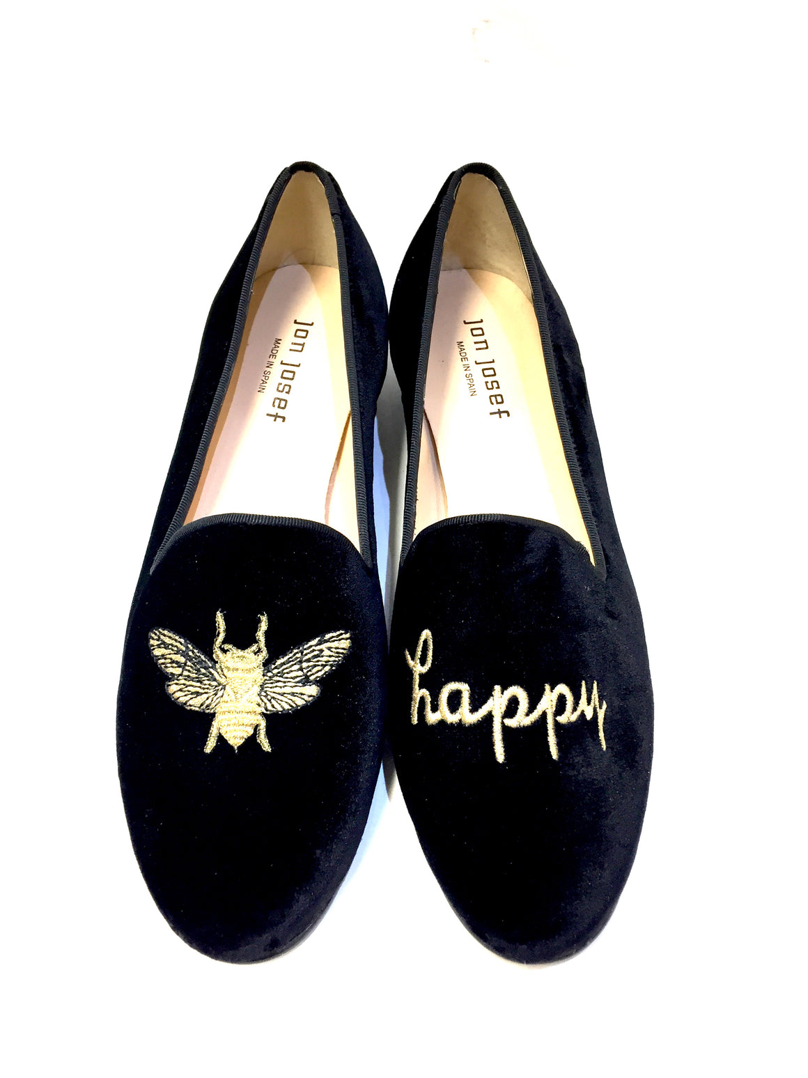 JON JOSEF  New  Black Velvet BEE HAPPY Gold Embroidered Smoking Slipper Flats Shoes  Size: 8M