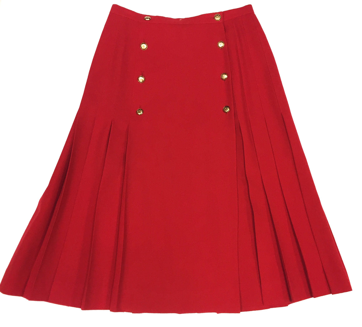 CHANEL Vintage Red Wool Button-Front Midi Length Pleated Wrap Skirt  Size: 10 - Estimated