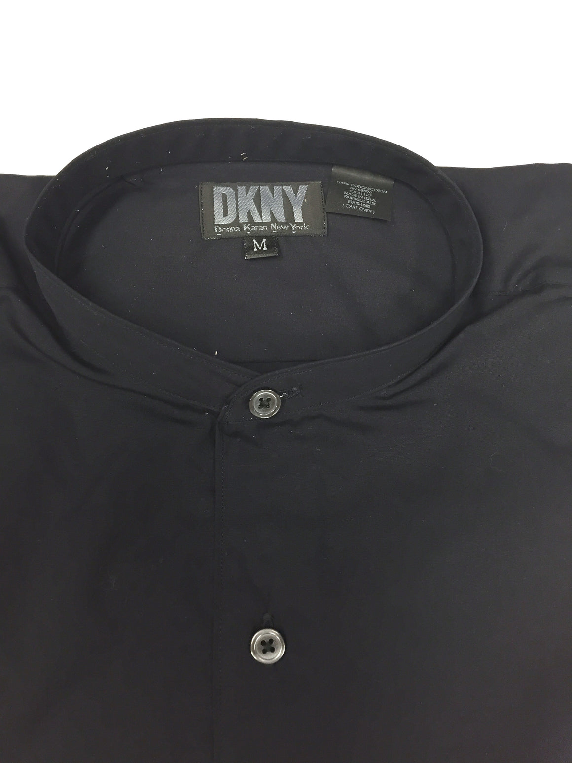 DONNA KARAN - DKNY  Midnite-Blue Cotton Mandarin Collar  Men's Long Sleeve Shirt  Size: M