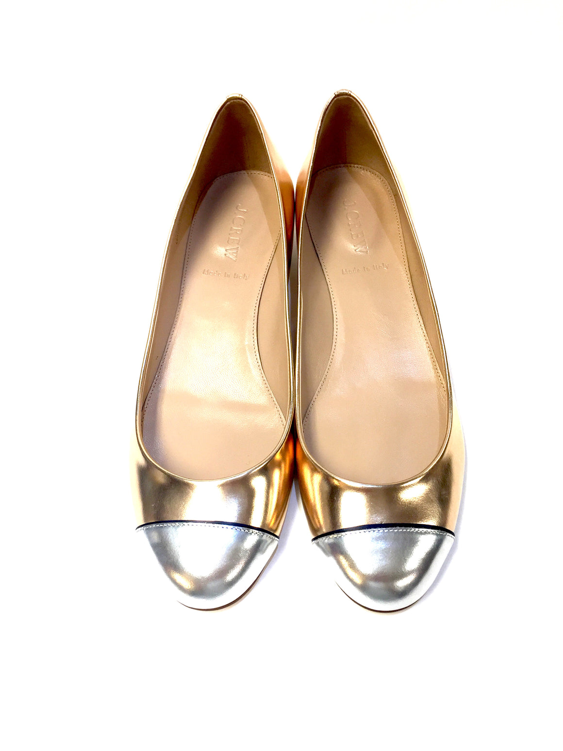 J. CREW    New  Gold Leather Silver Cap Toe Ballet Flats  Size: EU 39 / US9