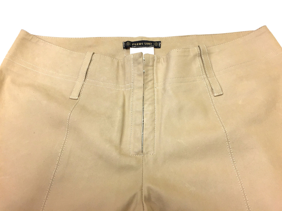 PLEIN SUD Beige Leather Straight-Leg Dress Pants Size 40 / 8