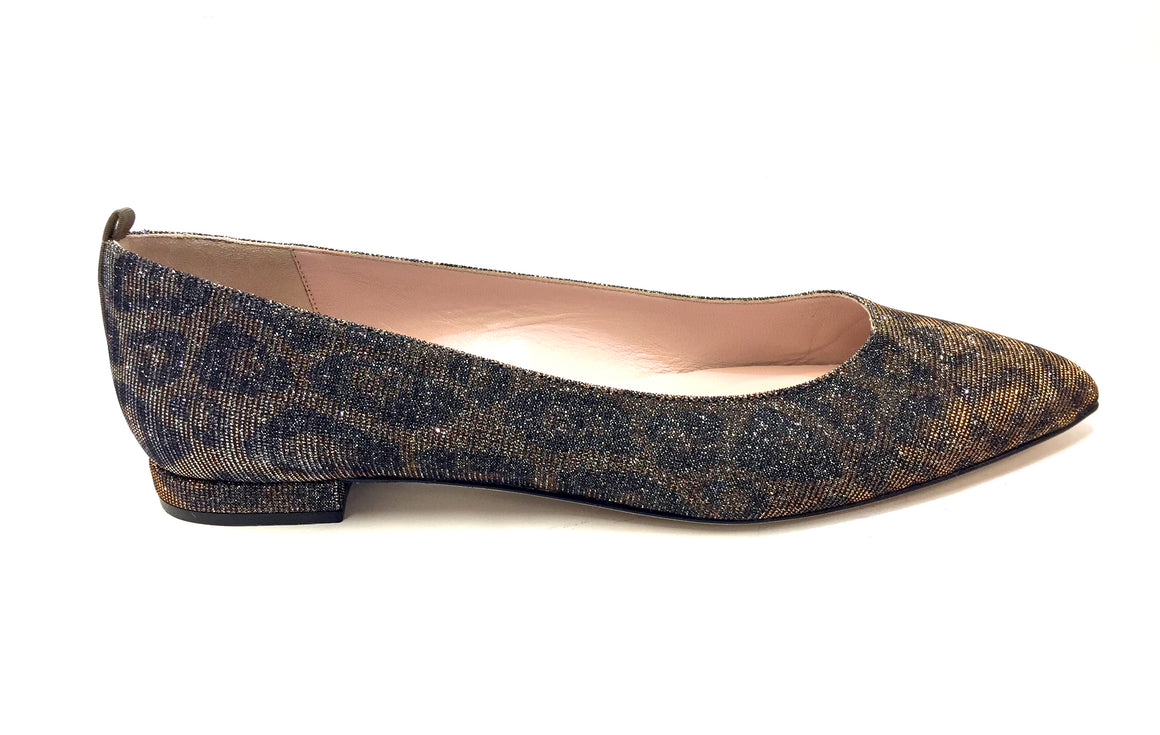 SARAH JESSICA PARKER SJP  NEW  Graphite-Gray/Bronze Leopard Patterned Fabric Flats  Size: US 9 / EU 39