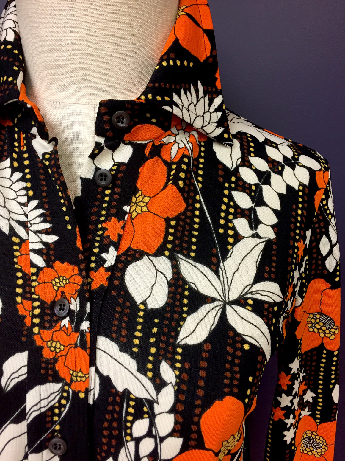 PRADA  Black/Multi-color Floral-Print Viscose Blouse Shirt  Size: IT 38/US 4