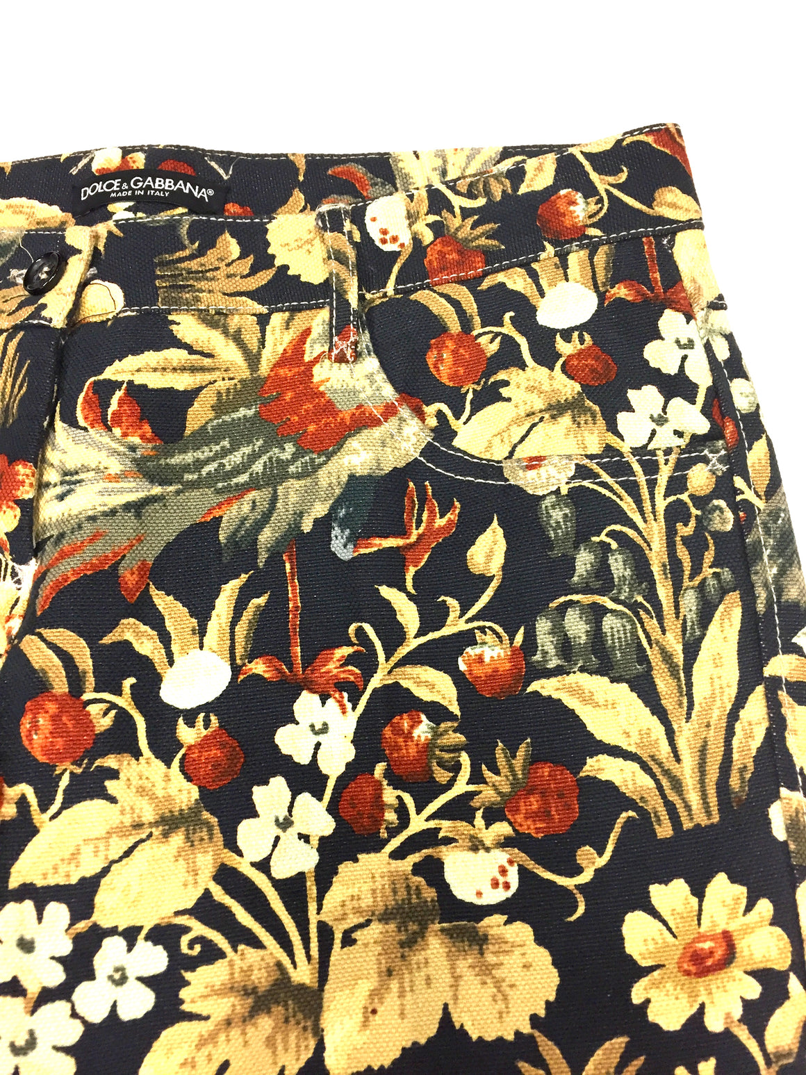 DOLCE & GABBANA Black/Multicolor Floral-Print Cotton/Linen Cropped Jeans/Pants