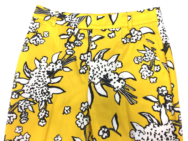 Red VALENTINO New with Tags Yellow White Black Floral-Print Cotton-Blend  Slim-Leg Pants Size: IT 42 / US6