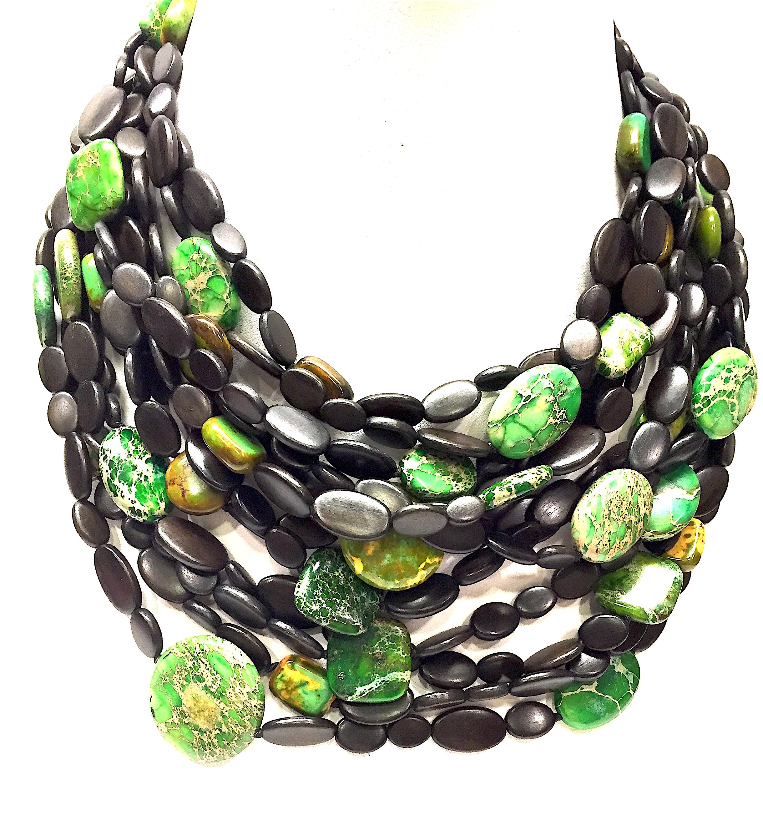 Rare Monies Exotic Wood Copper Yellow Green Turquoise Beads Multistran Bis Designer Resale