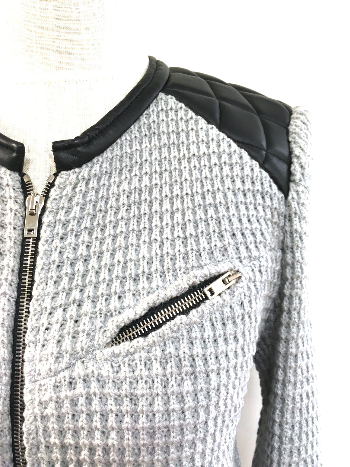 bisbiz.com IRO  Pearl-Gray Wool-Blend Quilted Leather Yoke Zip-Front Cardigan - Bis Luxury Resale