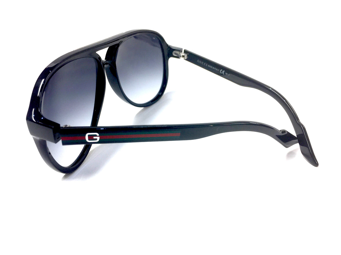 GUCCI    New in Case  Black Acrylic Frame Aviator Sunglasses  with Smoky Gradient Lenses & Red & Green Web Stripe