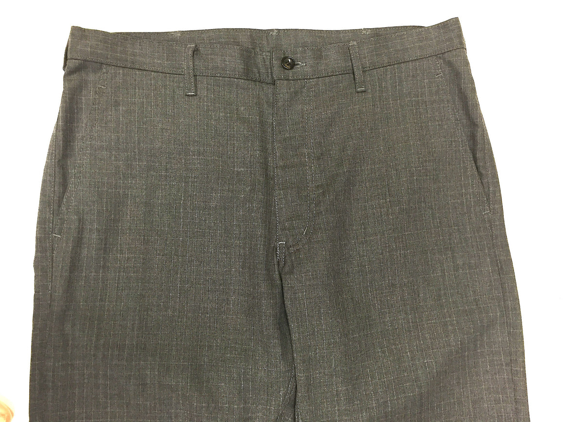 bisbiz.com COMME DES GARCONS  Graphite-Gray Windowpane Wool-Blend Straight-Leg Pants Size: L - Bis Luxury Resale