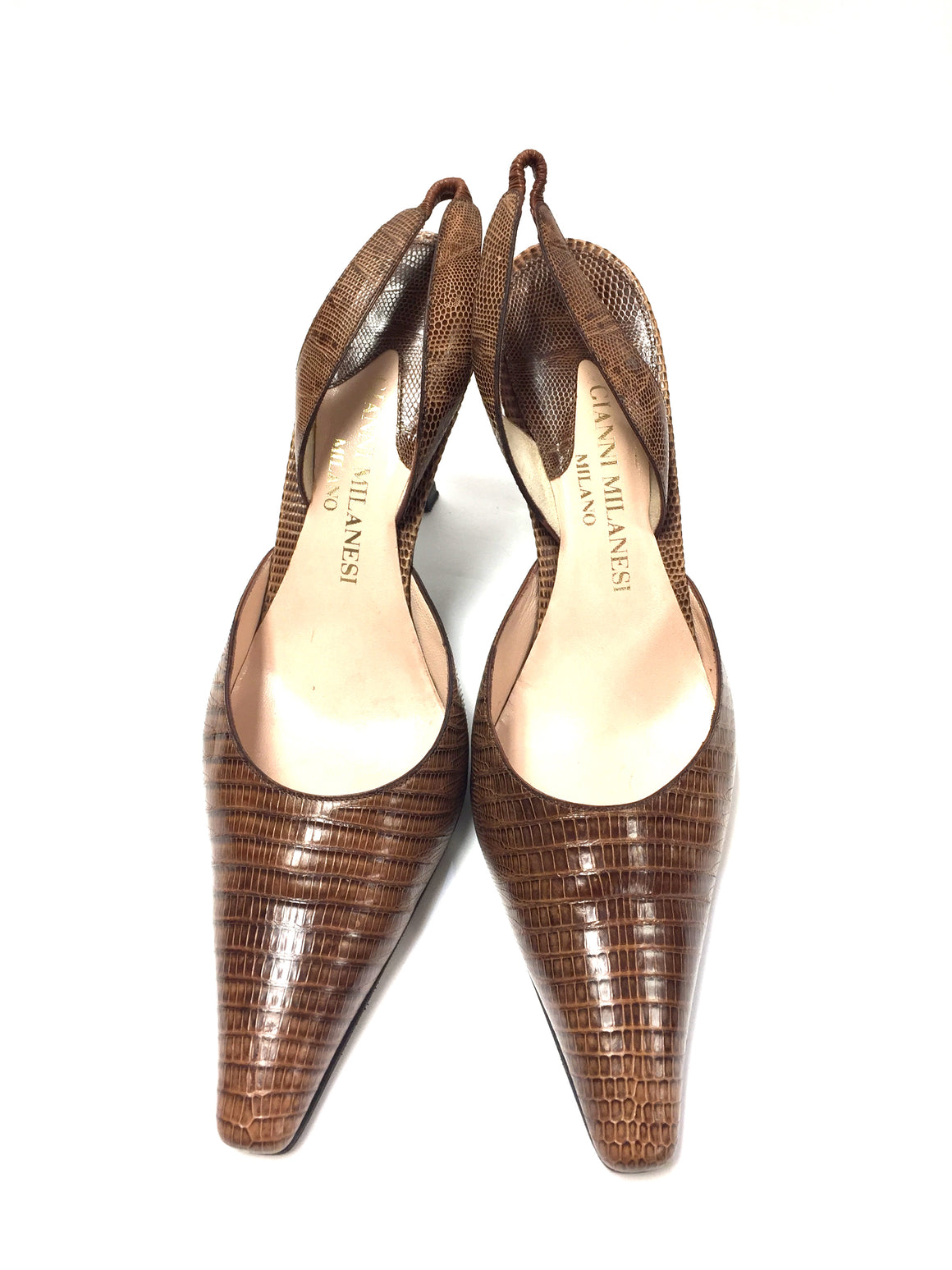 GIANNI MILANESI   Light-Brown Lizard Skin Hi-Heel Slingbacks Shoes Size: IT 39 / 9