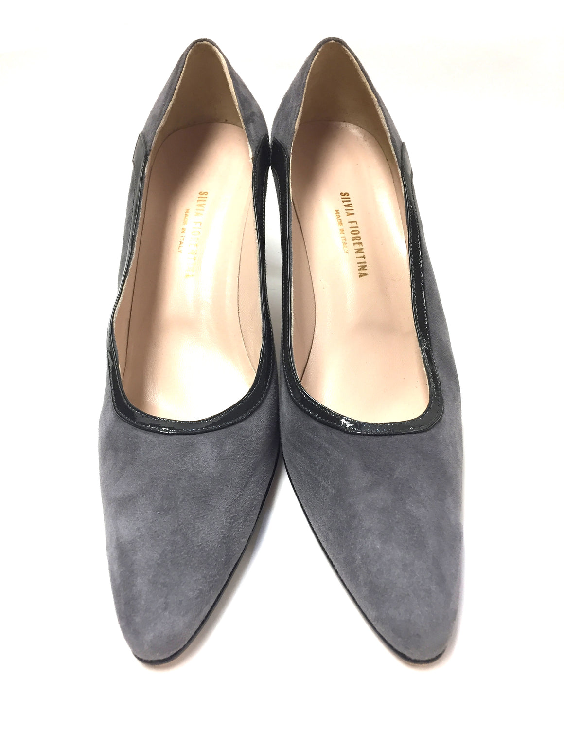 SILVIA FIORENTINA VINTAGE Gray Suede Patent Leather Trim Classic Heel Pumps Shoes Size: 38.5 / 8.5M