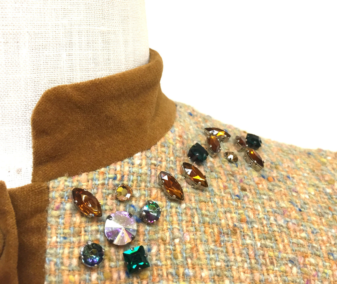 bisbiz.com BLUEGIRL BLUMARINE  Multicolor Woven Wool Jeweled Neckline & Pockets Suit Jacket  Size: 4 - Bis Luxury Resale