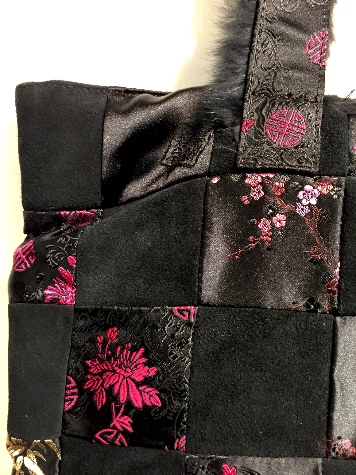 SHANGHAI TANG New Black Suede & Fabric Patchwork Tote Bag