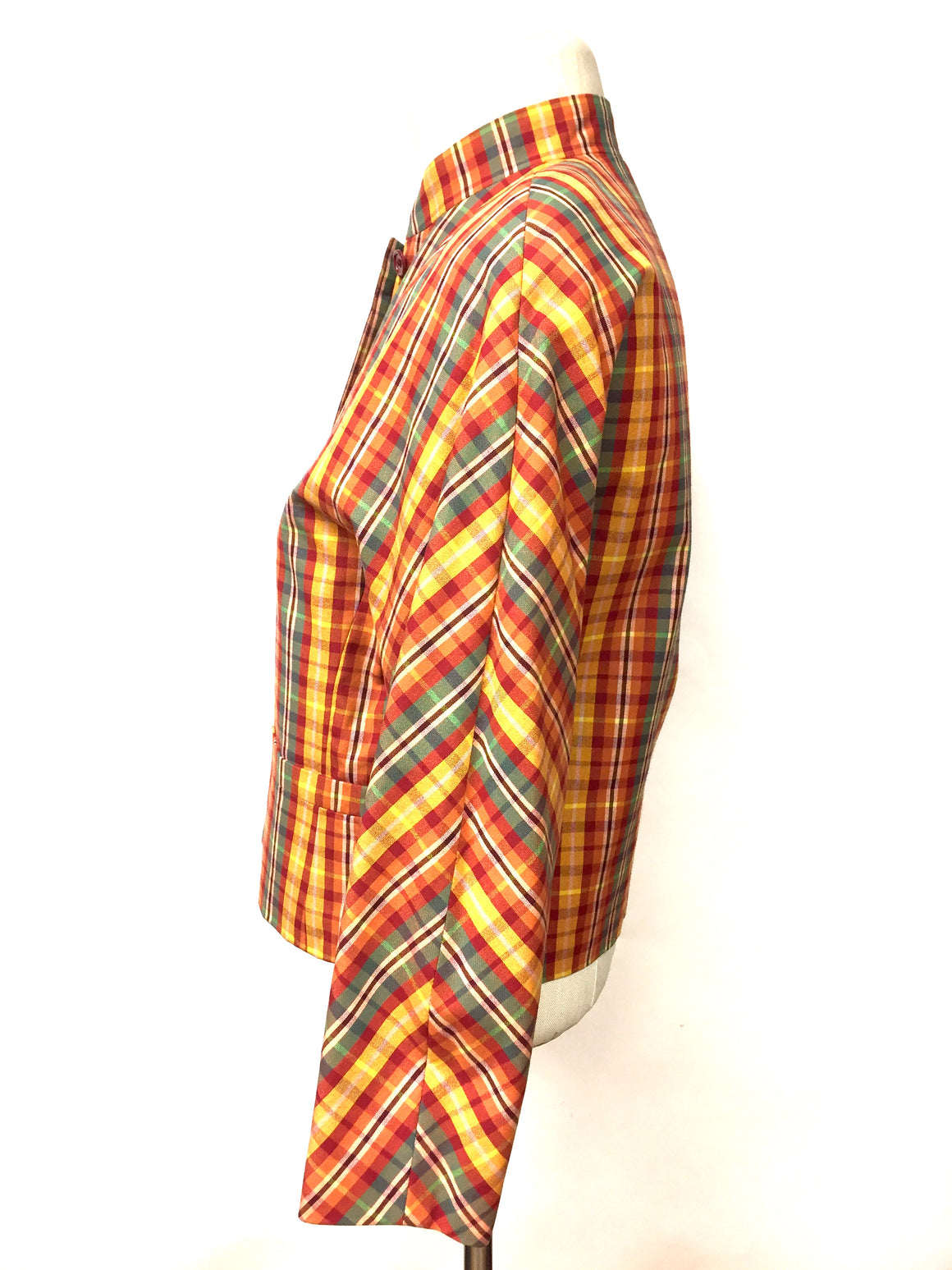 KENZO  Vintage Green Yellow Multicolor Plaid Cotton Cropped Jacket  Size: FR 38 / US 6