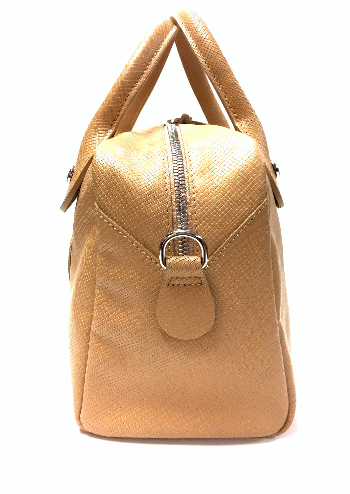 LONGCHAMP  Tan Textured Leather Small Duffle Satchel Hand Bag