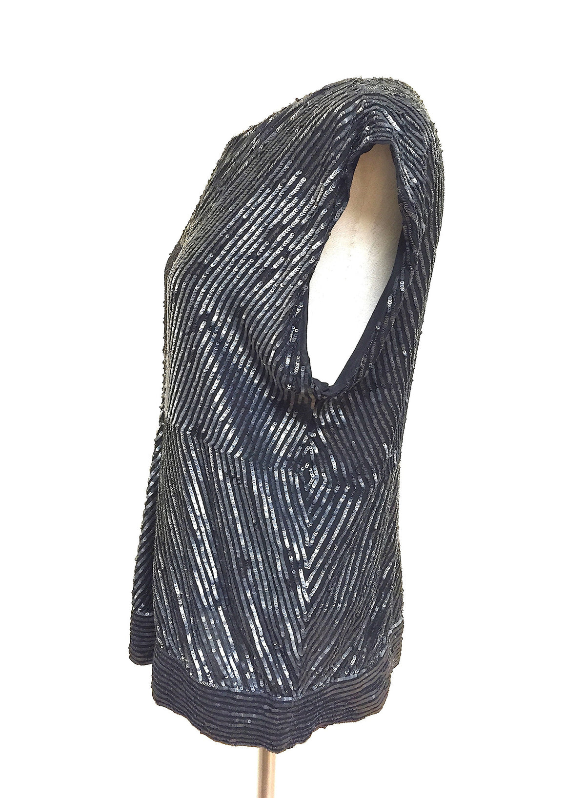bisbiz.com JOSEPH  Graphite-Gray Sequined Black Silk  Sleeveless Blouse Top  Size: Large - Bis Luxury Resale