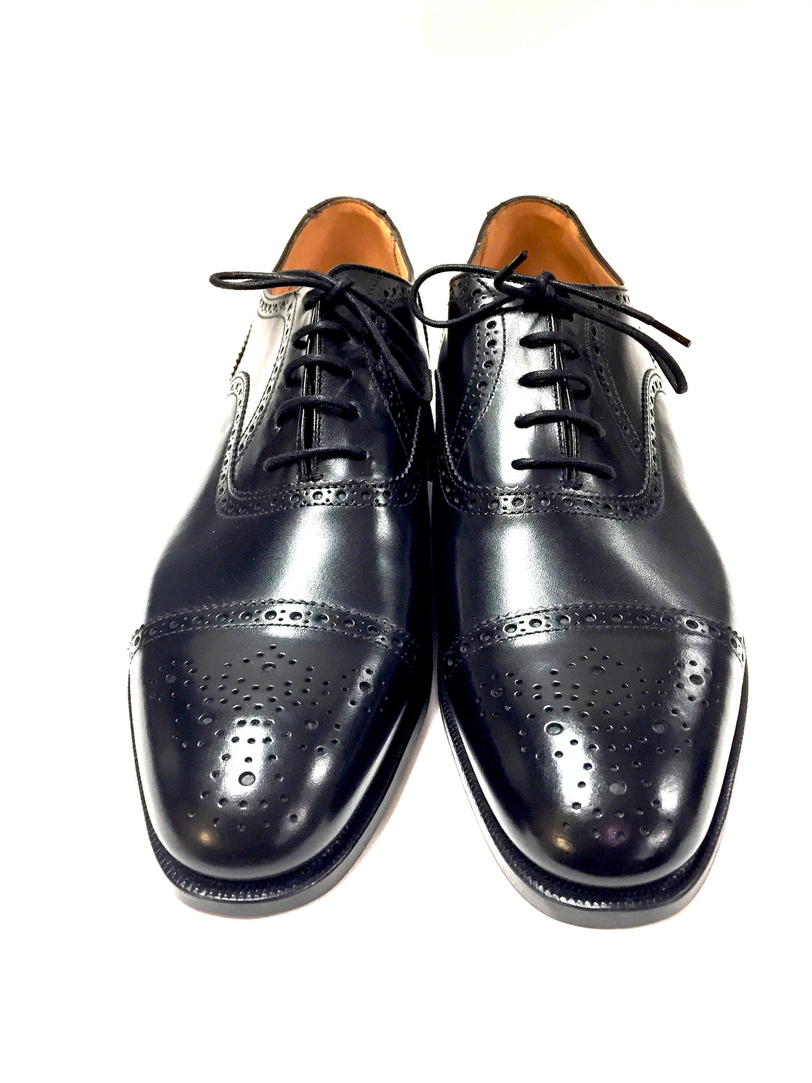 PEAL & Co. for BROOKS BROTHERS Black Leather U-Tip Men's Brogue Oxfords Shoes Size: 9E / 42