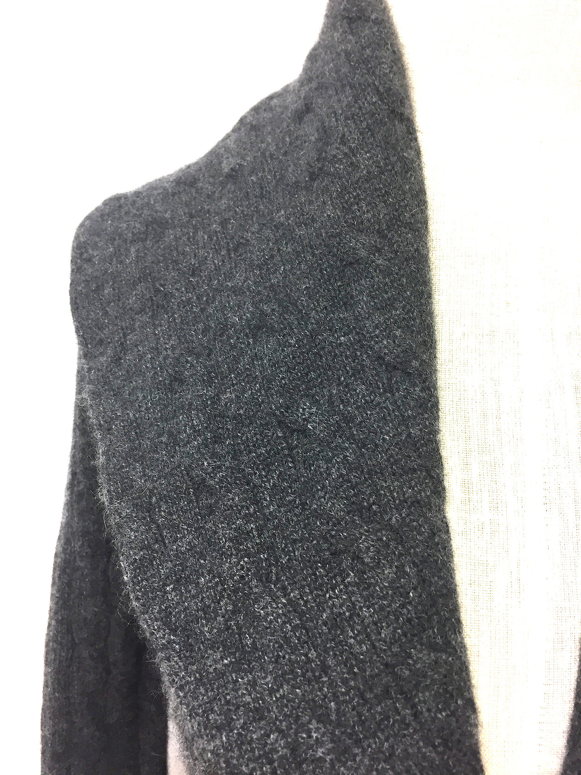 RALPH LAUREN  Graphite-Gray Cable-Knit Cashmere Shawl Collared Cardigan Sweater Size: Small