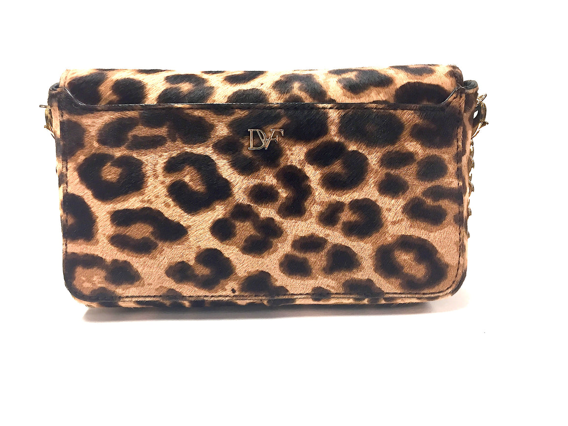DIANE von FURSTENBERG  New Tan/Brown Animal-Print Calfhair Crossbody/Clutch LIP Shoulder Bag