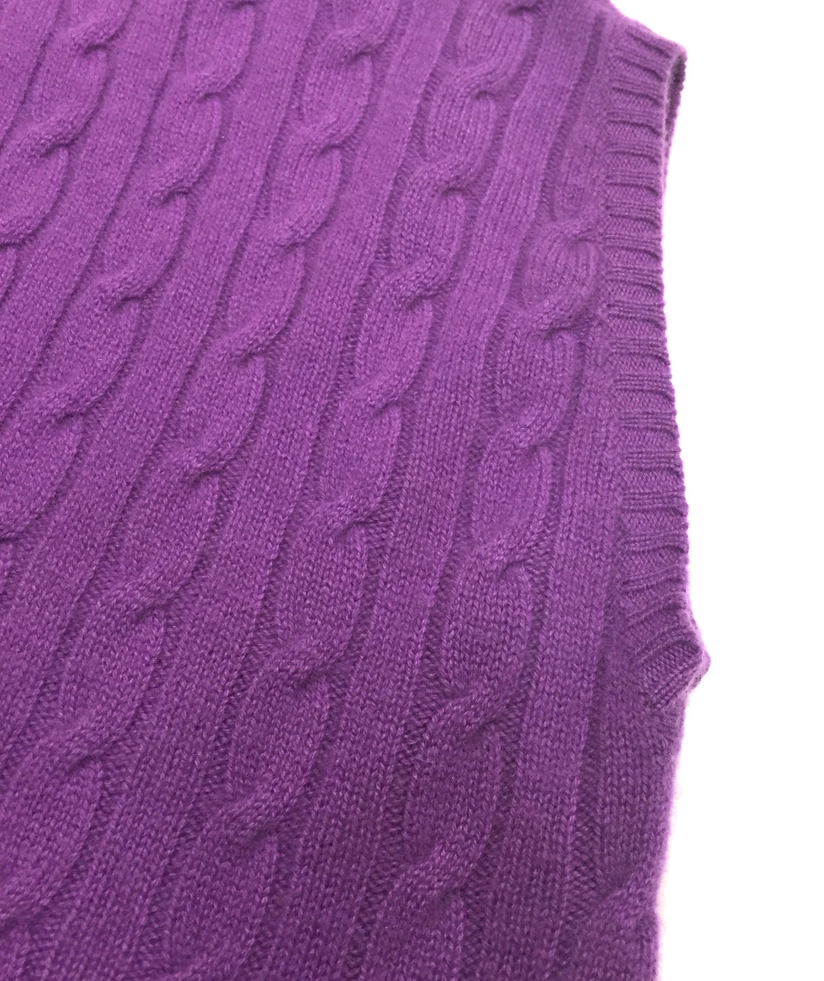 bisbiz.com RALPH LAUREN    New with Tags Orchid-Purple Cable-Knit Cashmere Cap-Sleeve V-Neck Sweater Top Size: Large - Bis Luxury Resale