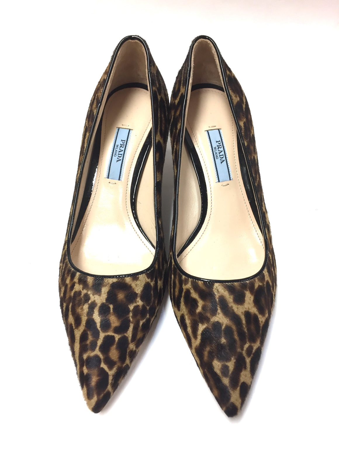 PRADA  New Beige/Tan/Brown Animal-Print Calf Hair Kitten Heel Pumps Shoes Size: 36.5 / 6.5