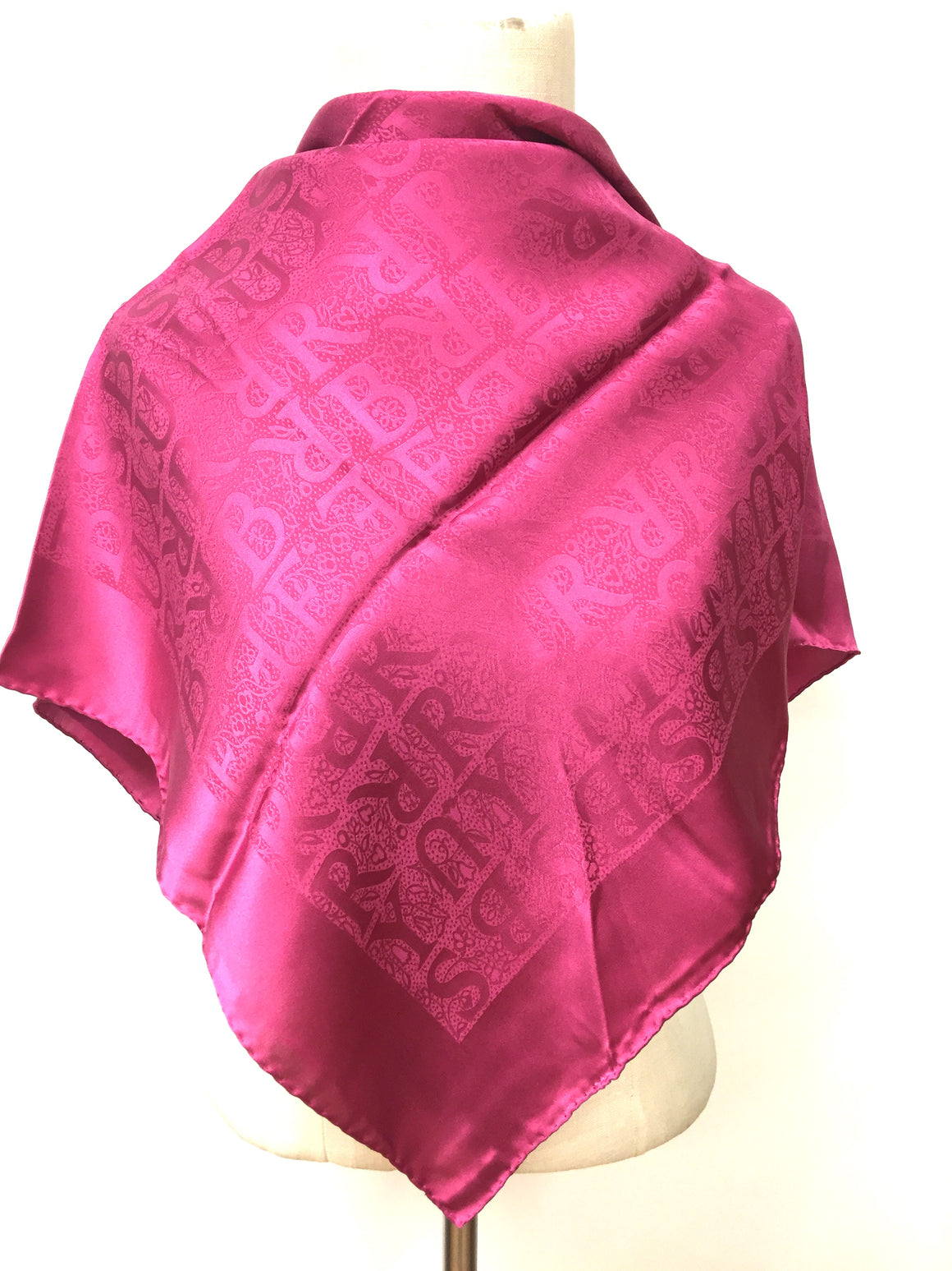 BURBERRY New Fuchsia Logo-Patterned Silk Jacquard Scarf / Shawl