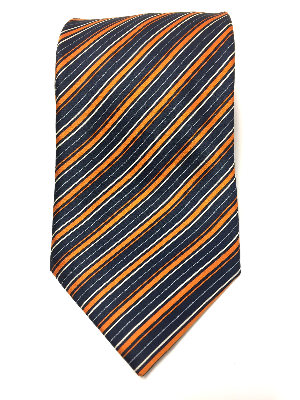 BRIONI Orange/Navy/White Diagonally-Striped Silk Men's Neck Tie