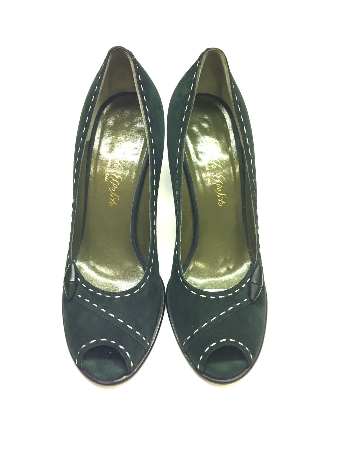 ERNESTO ESPOSITO Hunter-Green Suede Peep-Toe Spool-Heel Pumps Shoes Sz38.5