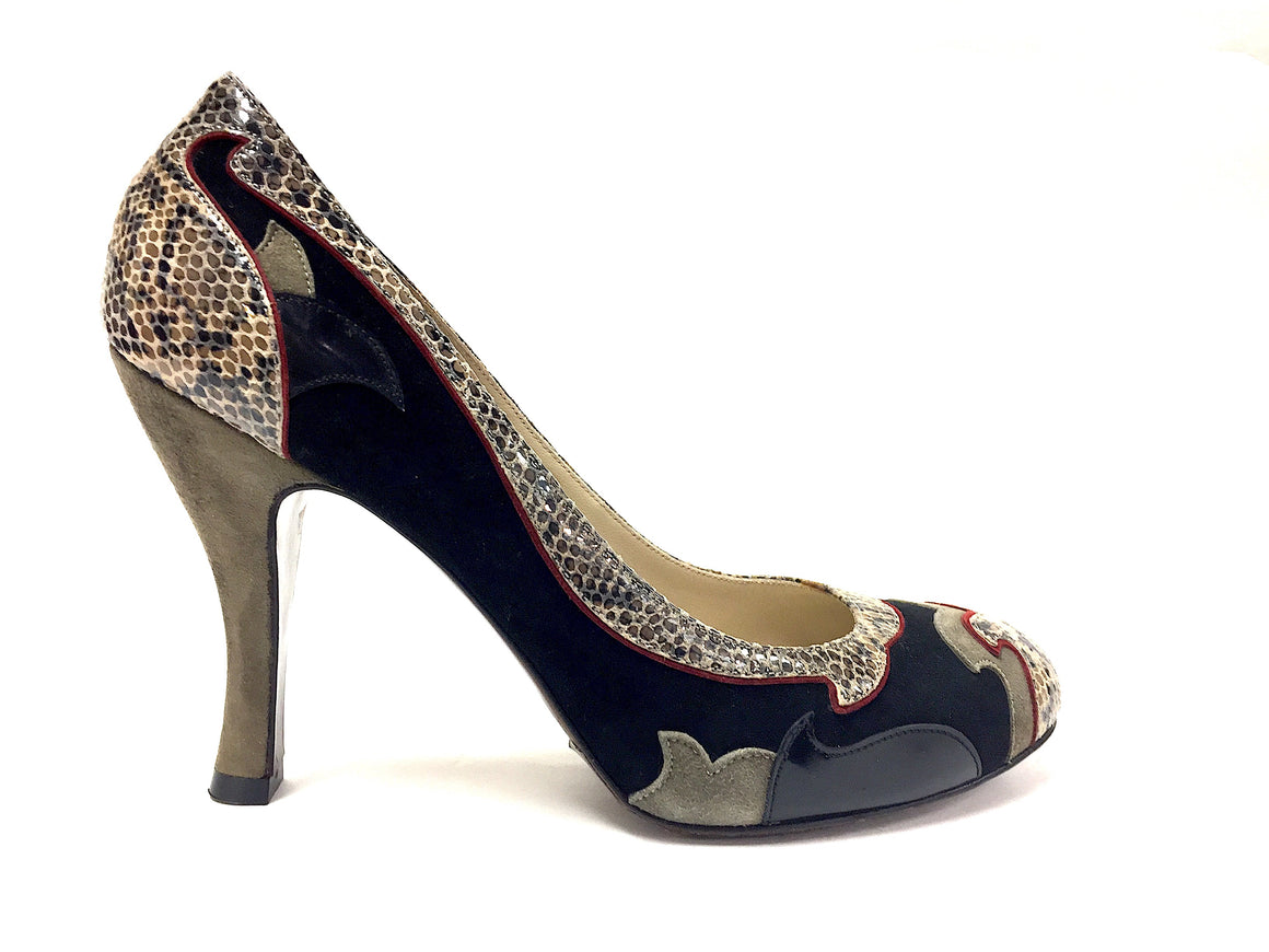 ETRO Black & Green Suede & Leather Gray/Taupe Faux Reptile Accents Hi-Heel Pumps Shoes Size: EU 38 / US 8