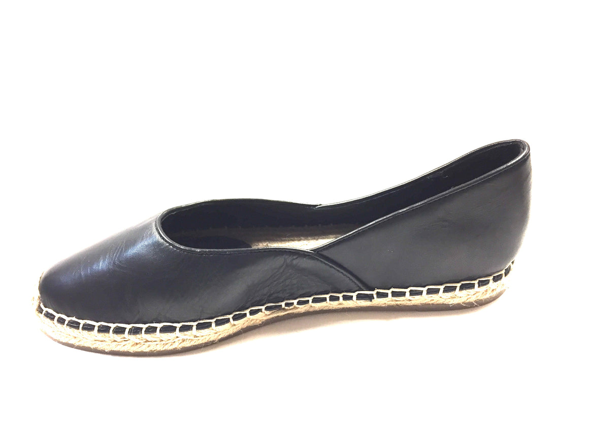 EILEEN FISHER New Black Leather Flat Slip-On Espadrilles Shoes Size: 6M