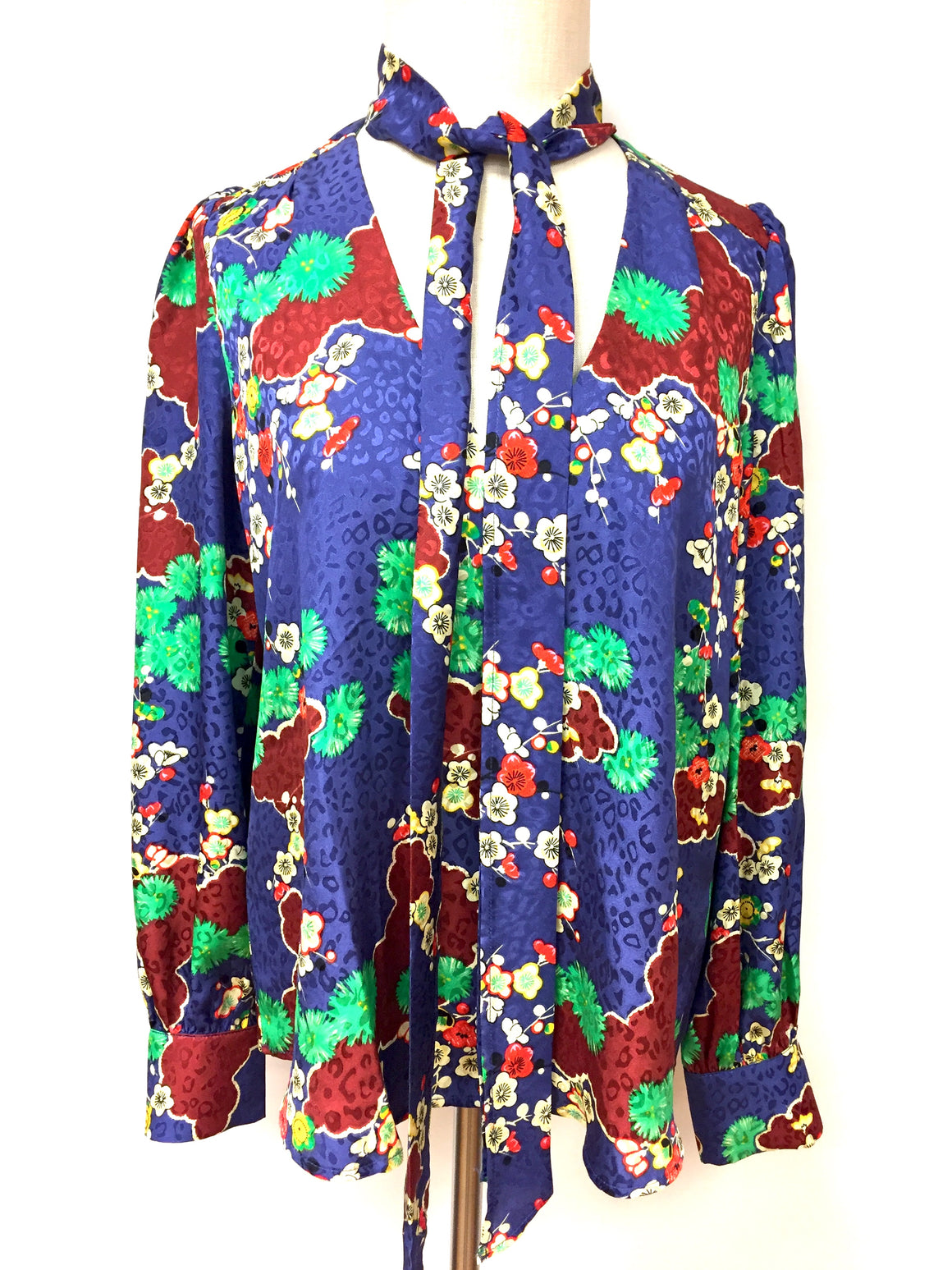 RIXO LONDON New Royal-Blue/Multicolor Floral-Print Silk Jacquard Blouse Top Size: M