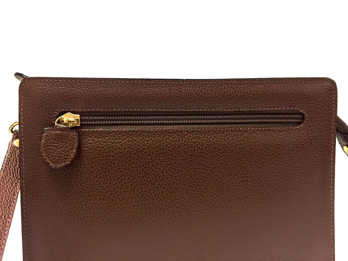 ESCADA Tobacco-Brown Grained Leather Zip-Top Wristlet Bag/Clutch