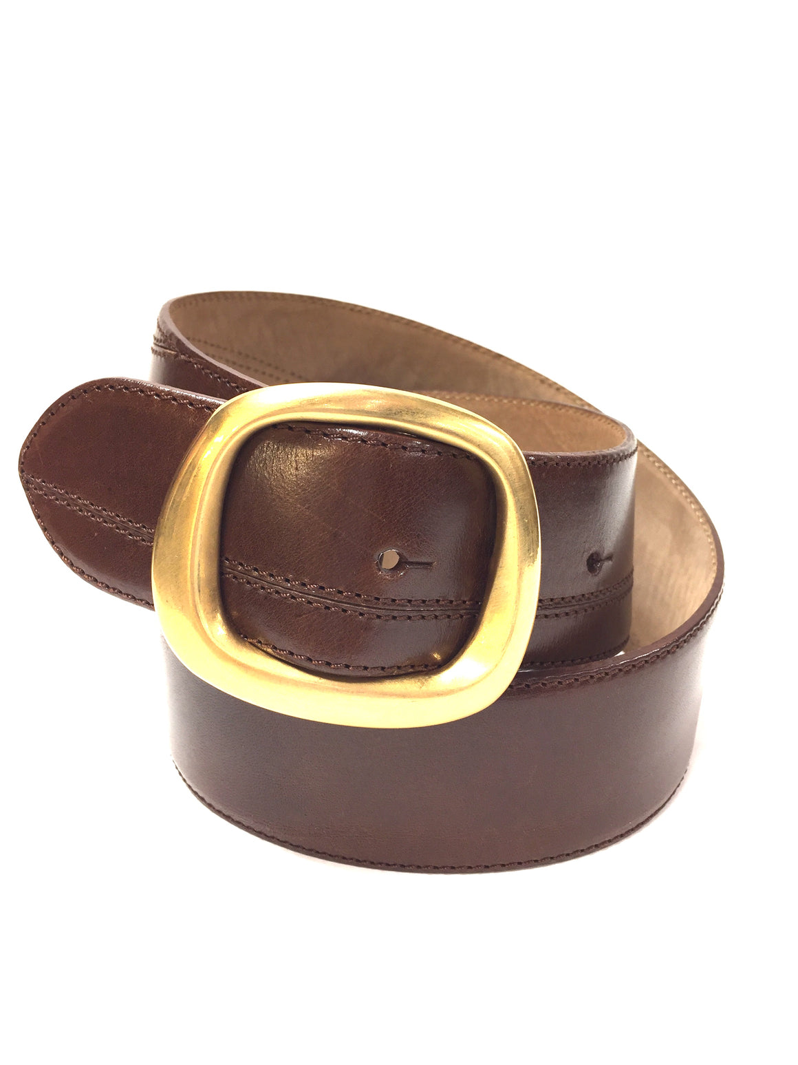 DE VECCHI  Tobacco-Brown Leather Matte-Gold Buckle Waist Belt
