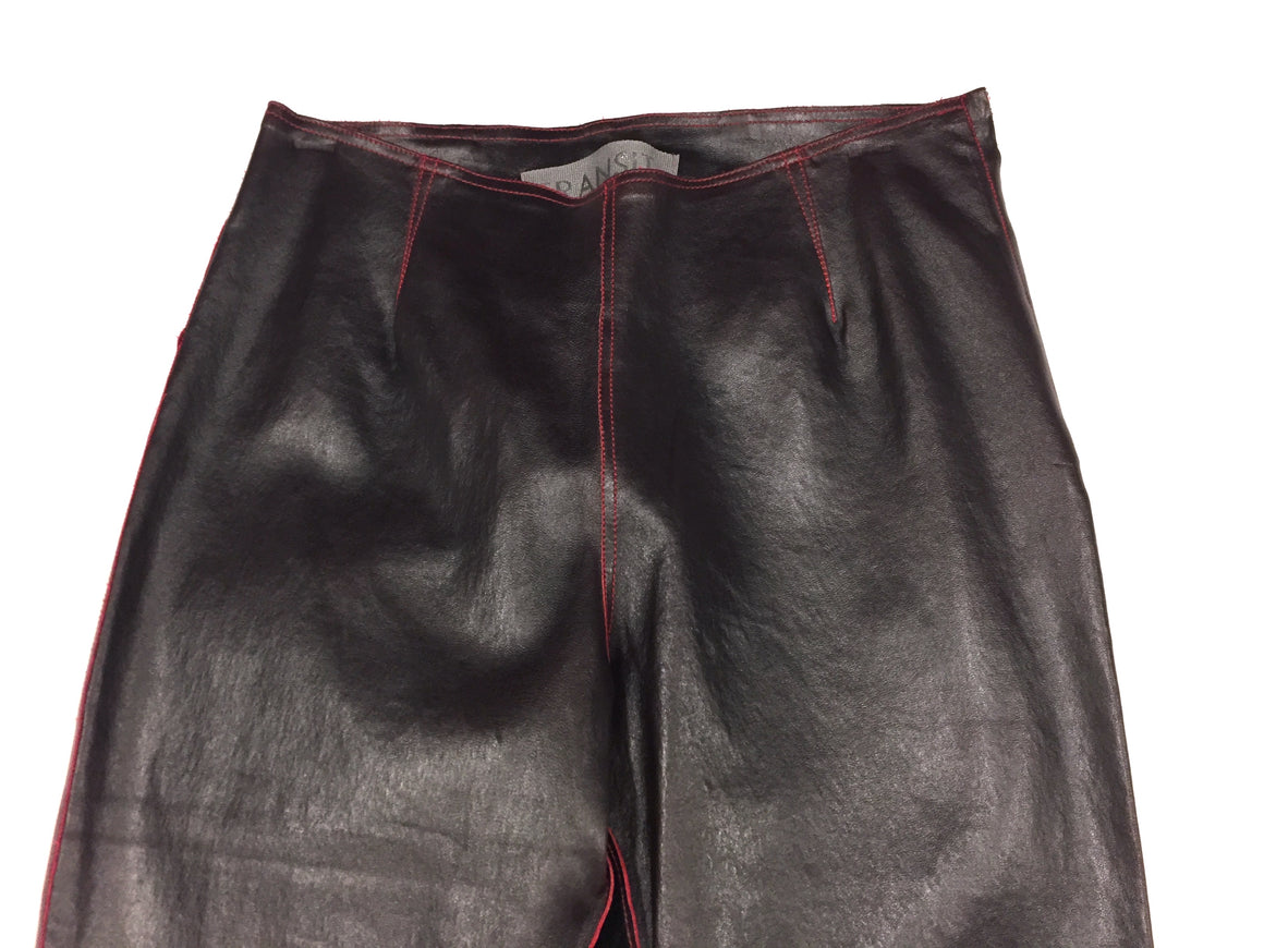 TRANSIT  Dark Maroon Glossy Leather Red Stitching Slim Leg Pants  Size EU 1/ US XS