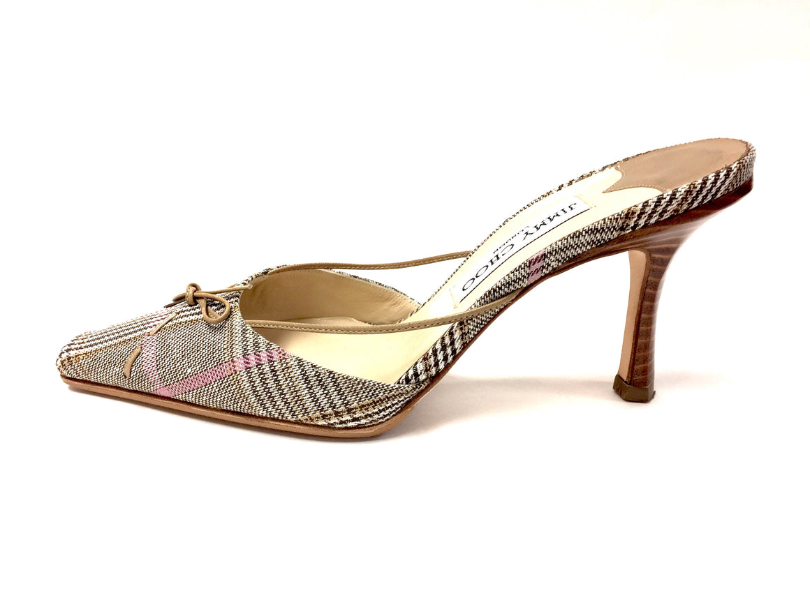 JIMMY CHOO Camel/Brown/Pink Plaid Canvas Leather Trim Hi-Heel Slip-On Mule Size: 36 / 6