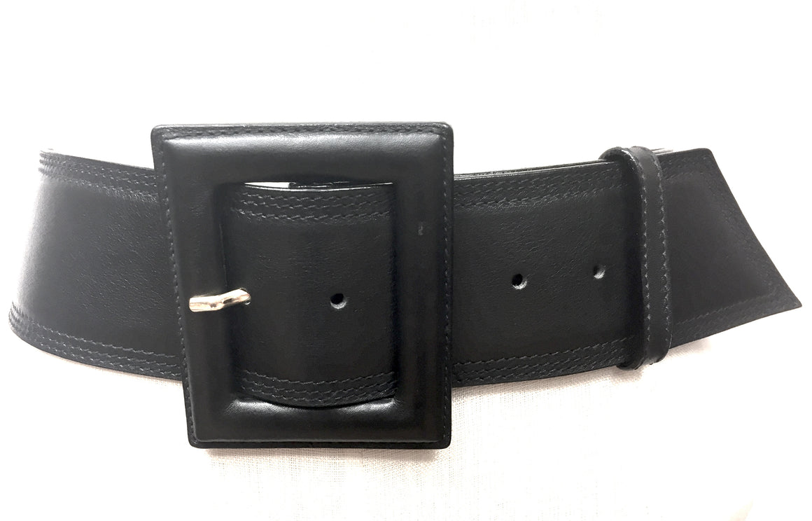 YVES ST. LAURENT - YSL  Black Leather Square Buckle & Stitching Wide Waist Belt  Size: Medium