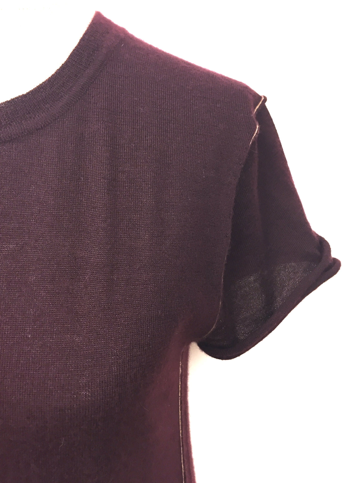 PAYCHI GUH  Burgundy Cashmere Beige Seam Trim Short-Sleeve Crewneck Sweater Top Size: Small
