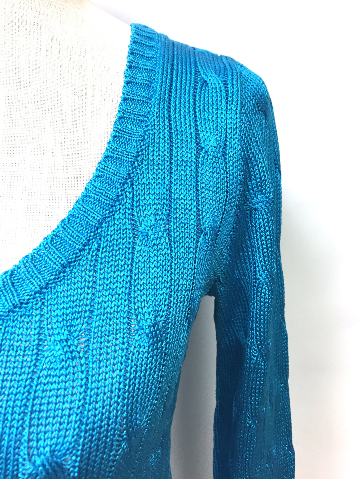 RALPH LAUREN  Turquoise Silk Calbe-Knit Scoop-Neck Sweater Top Size: Small
