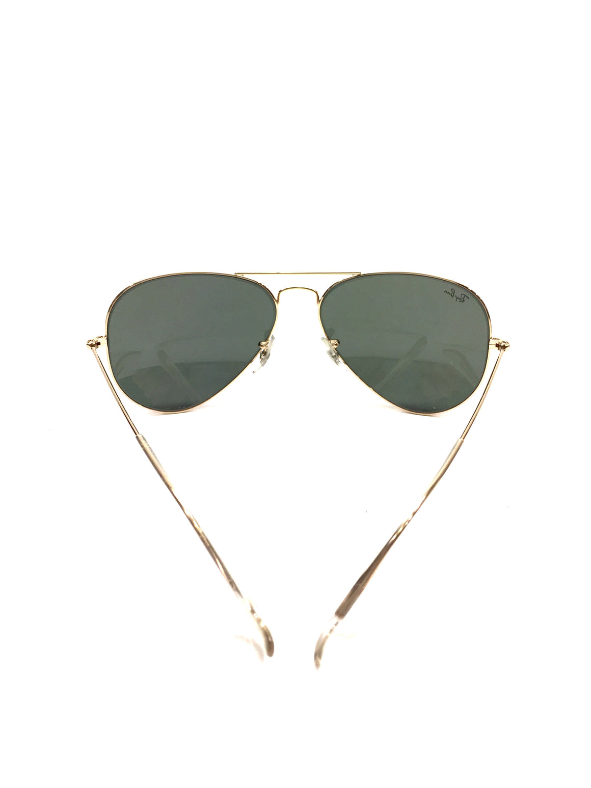 RAY BAN Goldtone Metal Frame Dark-Green Tinted Lenses Aviator Sunglasses